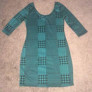 Houndstooth print teal dress
